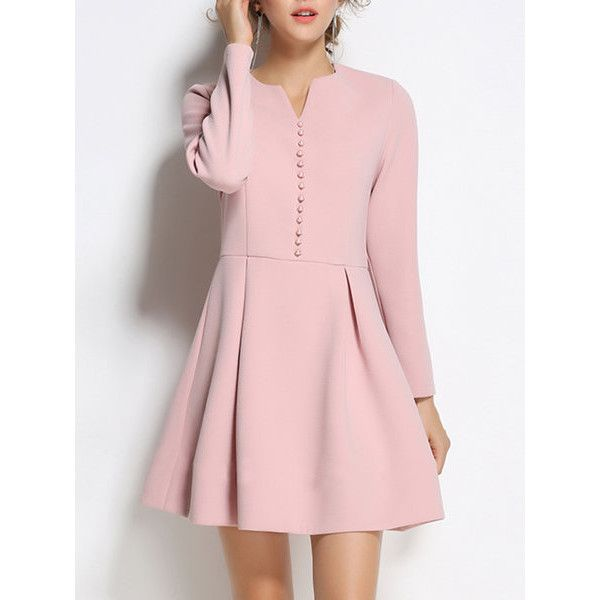 Girly A-line Solid Long Sleeve Midi Dress ($69) ❤ liked on Polyvore featuring dresses, midi dress, a line dress, long sleeve a line dress, pink midi dress and a line shape dress