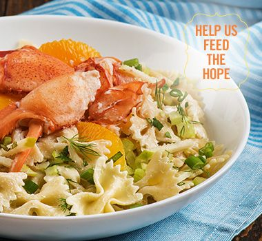 Fresh Gaspésie lobster salad, farfalle pasta and combawa | For every Facebook share or download of our Pasta to the Rescue cookbook or its recipes, we're donating portions of pasta to food banks across Canada. Visit https://www.catelli.ca/en/feed-the-hope/ to learn more.