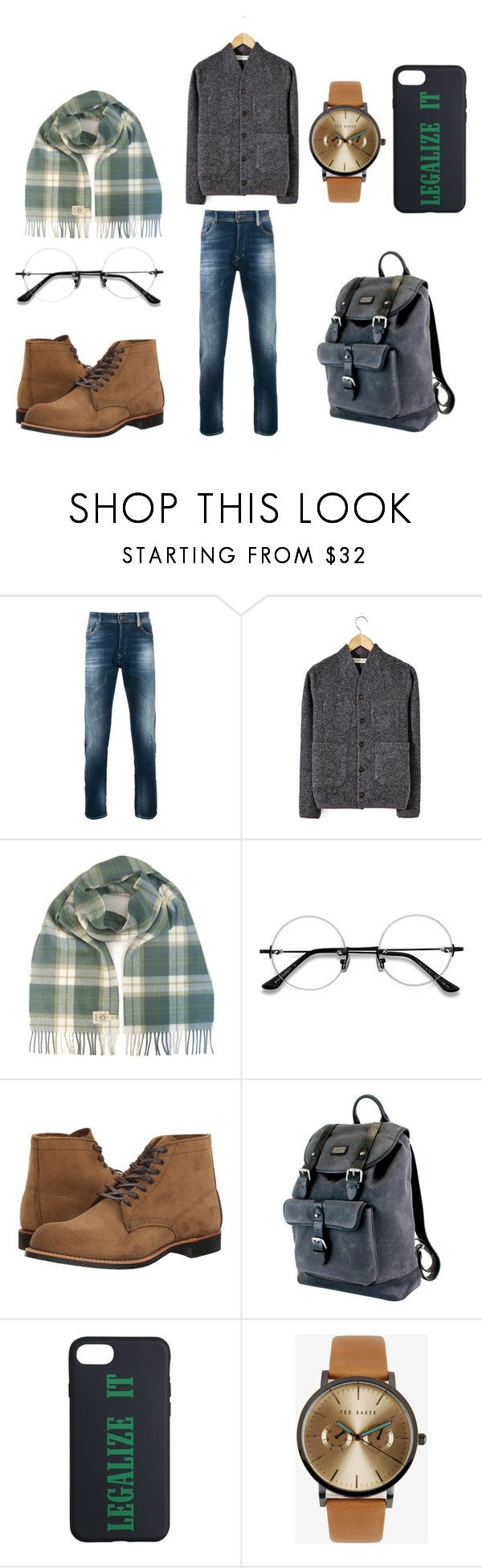 """""""Winter"""" by arammatagi on Polyvore featuring Diesel, EyeBuyDirect.com, Red Wing, The British Belt Company, Palm Angels, Ted Baker, men's fashion and menswear"""