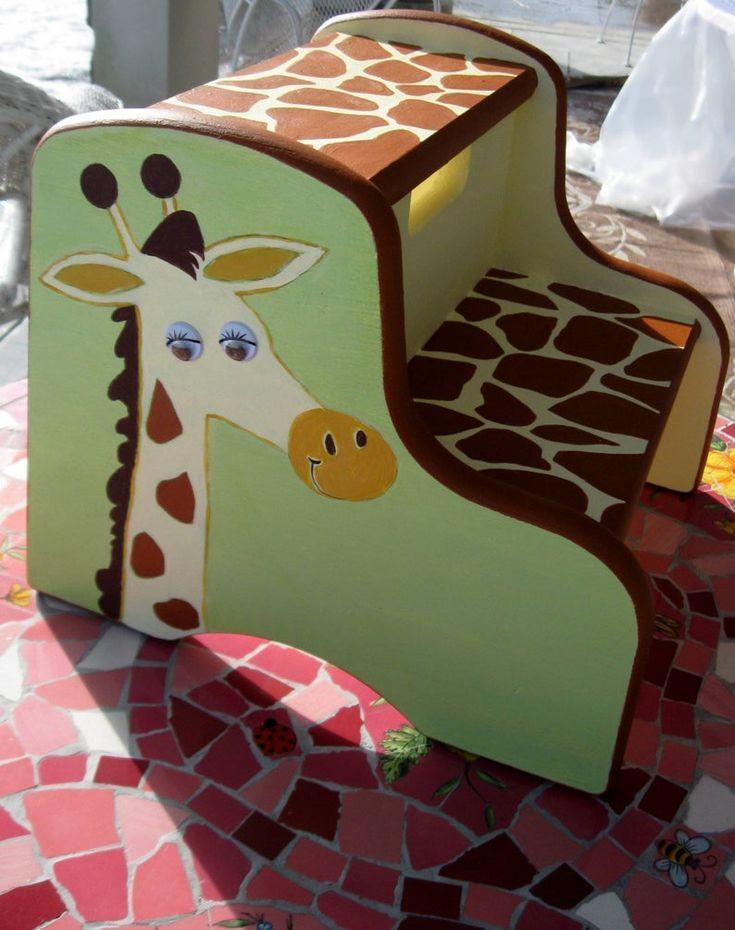 Childrens hand painted giraffe step stool nursery decor