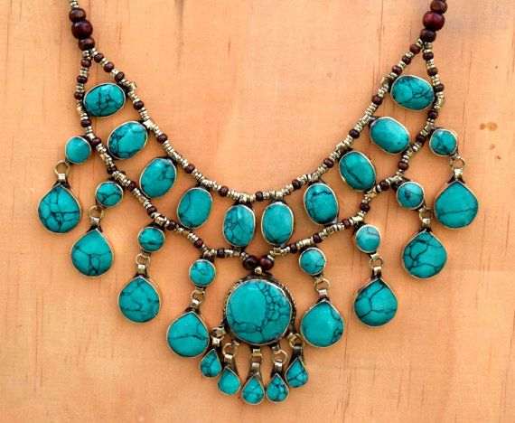 Green Turquoise Necklace,Cassidy Bib Bubble Necklace,Hippie,Afghan Kuchi…