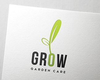 Grow Logo design - This is a versatile logo can be used for garden care, farms and also for green companies. In this logo i made the 'O' look like a seed with a seedling. Price $299.00