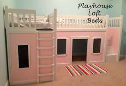 2 Playhouse Loft Beds make a HUGE play area underneath!