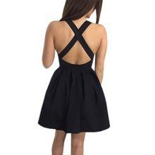 Women Sexy Backless Dresses 2017 Fashion Sleeveless Summer Dress Slim Bodycon Solid Party Black Dresses Clothing LJ9212X //FREE Shipping Worldwide //