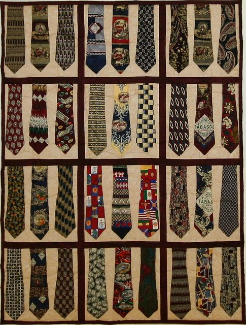 Love this!!! I have 500 ties waiting to be made into a quilt    !!!!     I personaly don't have that  many ties but I sure think a trip to goodwill will pay offf!!!