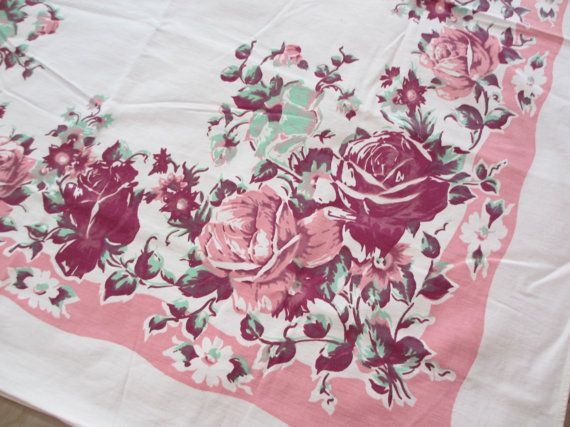 Cabbage rose. Vtg midcentury tablecloth / cotton / cabbage rose English / pink green magenta / 45 x 50 inch  by fuzzandfu, $38.00