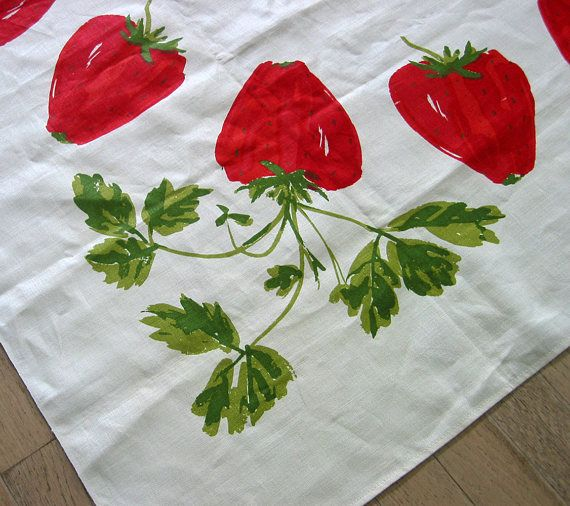 Vintage Vera Neumann Tablecloth  Size: 52 x 50 inches Design: Red Strawberries with Green Leaves ~ off white/ivory background Material: All Belgian Linen with screen print design  Signature and Ladybug, c. 1960s (handwritten note on tablecloth as found gift from Larissa 1959)  Condition: Excellent, no holes or rips. There is some scuffing above signature and few discoloring stains that are very hard to see. The tablecloth does not appear to have ever been washed.  Questions? Please ask. ...