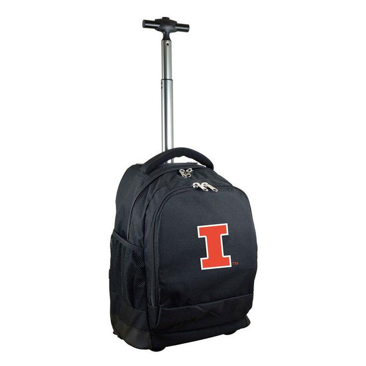 Illinois Fighting Illini 19'' Premium Wheeled Backpack - Black