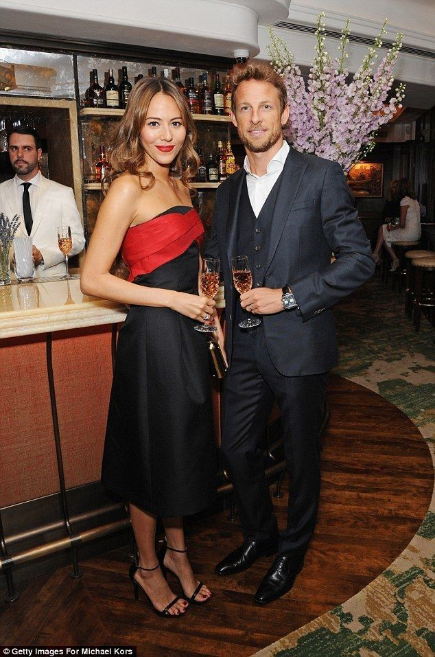 Jenson Button's wife Jessica wows in a strapless black and red dress - Celebrity Fashion Trends