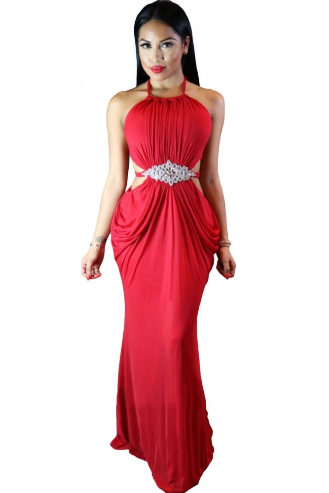 Cutout Draped Halter Gown with Crystal Detail – Strawberrys & Champagne