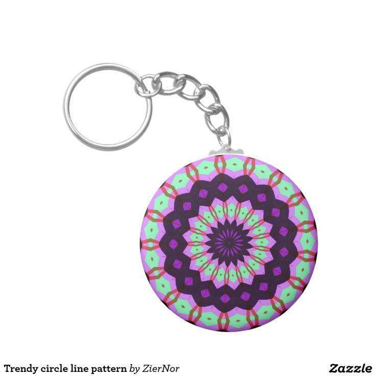 Trendy circle line pattern basic round button keychain