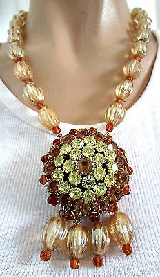 STANLEY HAGLER Gorgeous Champagne Glass Melon Bead Rhinestone Necklace