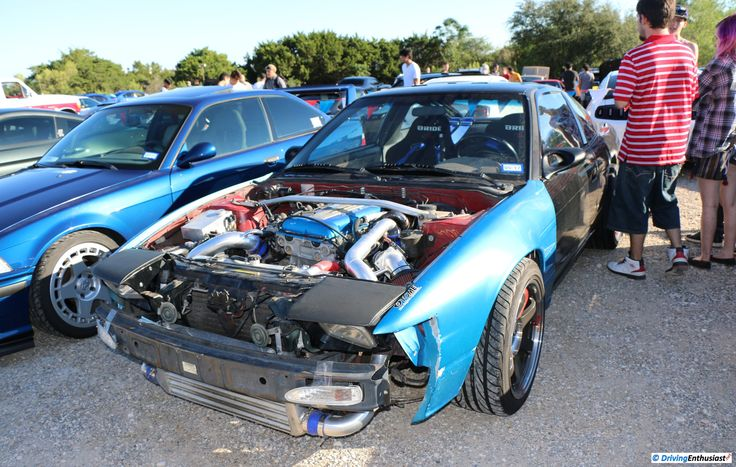 Nissan 240SX (Silvia S13) with 2.0L SR20DET turbo I4 engine swap. As shown at the September 2016 Cars and Coffee event in Austin TX USA.