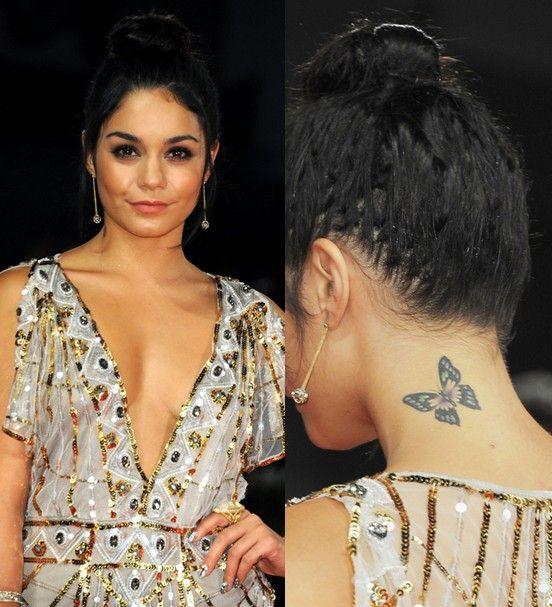 Vanessa Hudgens' Tattoos – Butterfly Tattoo on Neck | Pretty Designs