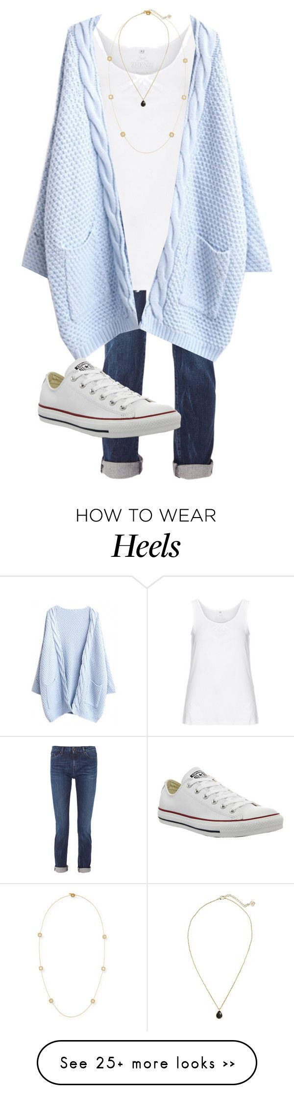 """""""Go Heels!!! """" by skmorris18 on Polyvore featuring Karl Lagerfeld, Zhenzi, Converse, Kendra Scott and Roberto Coin"""