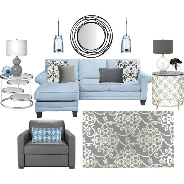 Blue, white and gray living room. love it for our living room. with the dark wood i think it would look nice