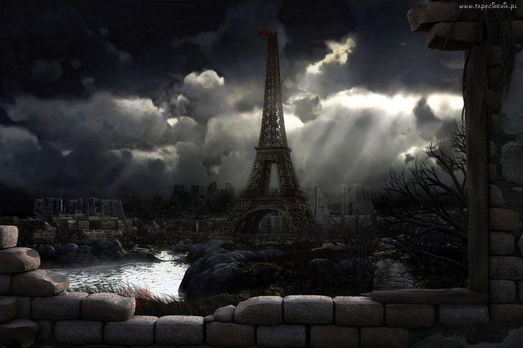 Paryż, Wieża Eiffla, Ruiny, Wojna