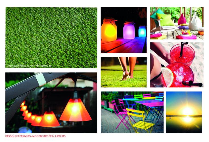 MOODBOARD DE LA SEMAINE. Idées, couleurs ou objets de décoration, tout se mêle pour vous présenter en photo notre produit de la semaine, le gazon synthétique. Plus d'informations  http://www.dessolsetdesmurs.com/sols-souples/851-gazon-synthetique-35mm-.html