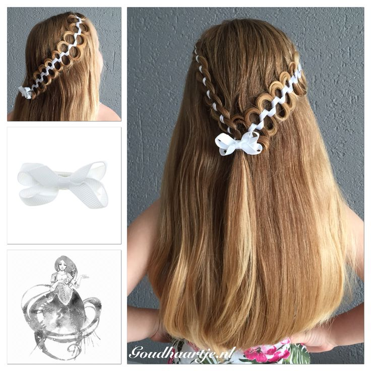 Half up with a four strand ribbon braid and a snake braid with a cute bow from Goudhaartje.nl