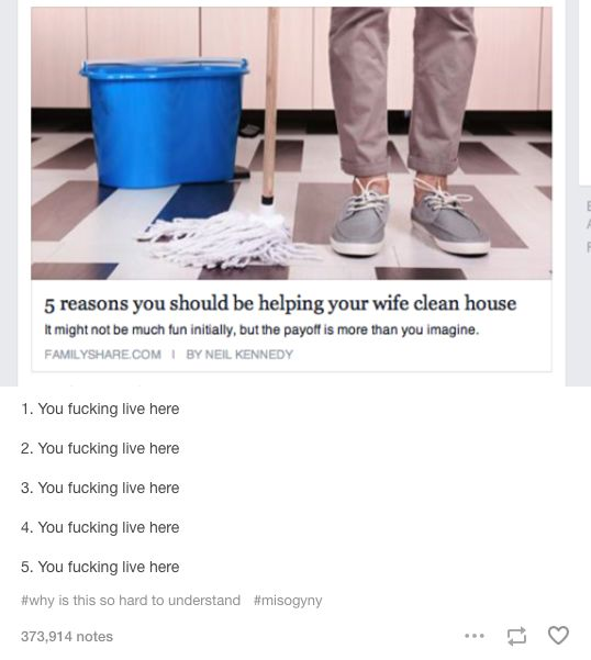 when there is an article that shows the  benefits of a man to help with the housework: this is the answer.