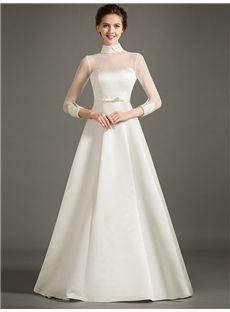 Church A-line Elegant & Luxurious Glamorous & Dramatic Long Sleeves All Sizes Spring High Neck Wedding Dress