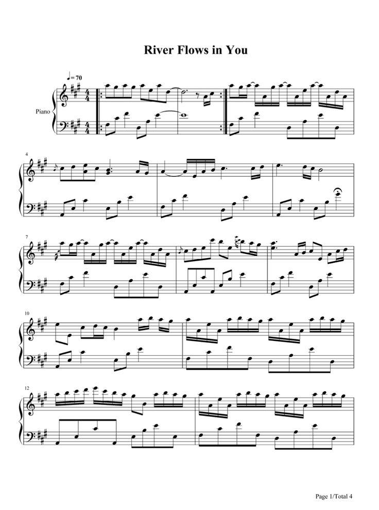 river flows in you piano sheet pdf