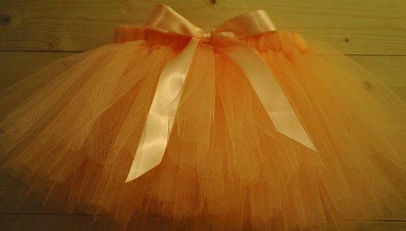 Peach Tutu with Satin Bow, dressing up tutu, girls tutu, baby tutu on Etsy, £15.00