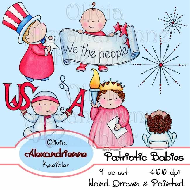 Patriotic Babies is a downloadable 9 piece hand drawn and painted original set of United States patriotic baby/toddler images.  This set includes the Statue of Libery, Uncle Sam, Betsy Ross, stars, stripes, a frame, and more.  These images are perfect any time you need artwork for something patriotic, from Independence Day to Veterans Day and more.