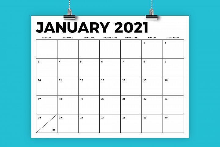 8 5 X 11 Inch Bold 2021 Calendar 438443 Flyers Design Bundles In 2020 Calendar Template Printable Calendar Template Calendar Printables