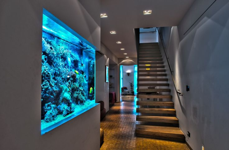 decoration amazing wall aquarium interior design with yellow tile flooring and long stair way. Black Bedroom Furniture Sets. Home Design Ideas