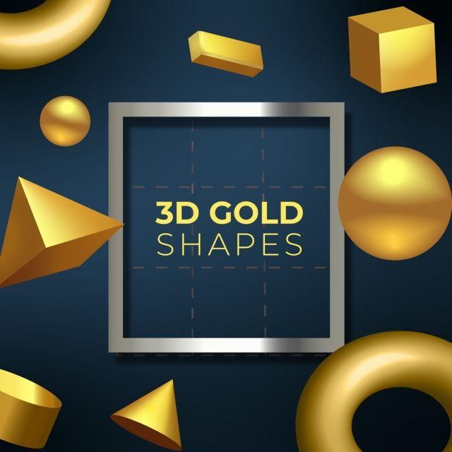 3d ذهبي الأشكال الهندسية عن الخلفية الزرقاء الخلفية 3d الذهب Png والمتجهات للتحميل مجانا Geometric Vector 3d Geometric Shapes Geometric Shapes