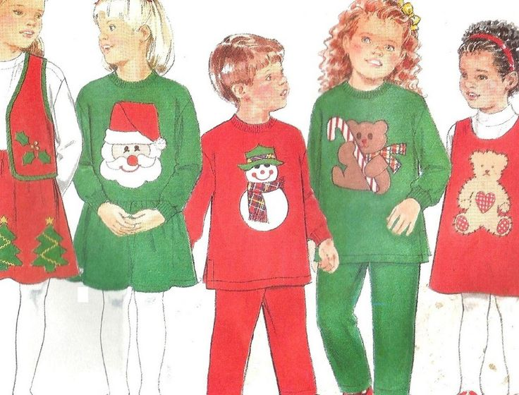 Butterick+4650+Children's+Christmas+Dress+Top+Jumper+Pants+Uncut+Pattern+Size+2+3+4+5
