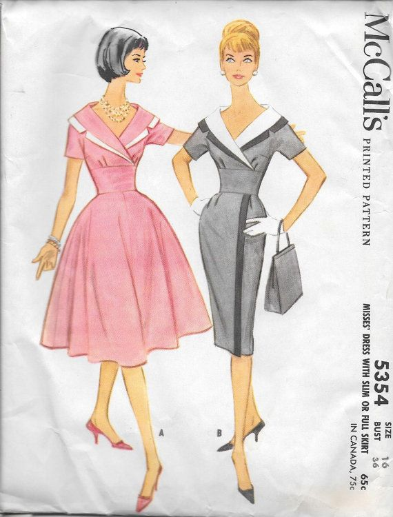 Vintage 1960s McCall\'s Sewing Pattern 5354- Misses\' Dress size 16 ...