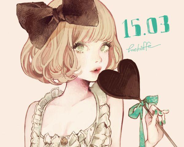 "Tags: ""blonde hair"" ""green eyes"" ""nail polish"" ""ribbon"" ""short hair"" ""sweets"" Artist: ""Mokaffe"""