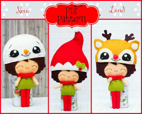 PDF Pattern. Elf boy with Christmas hats: Elf hat, Snowman hat and Rudolf hat
