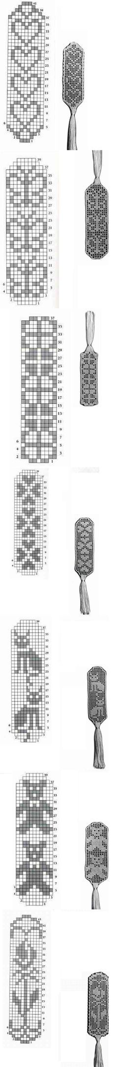 filet crochet - lovely bookmarks - easy-to-do present! (could use as decoration too!)