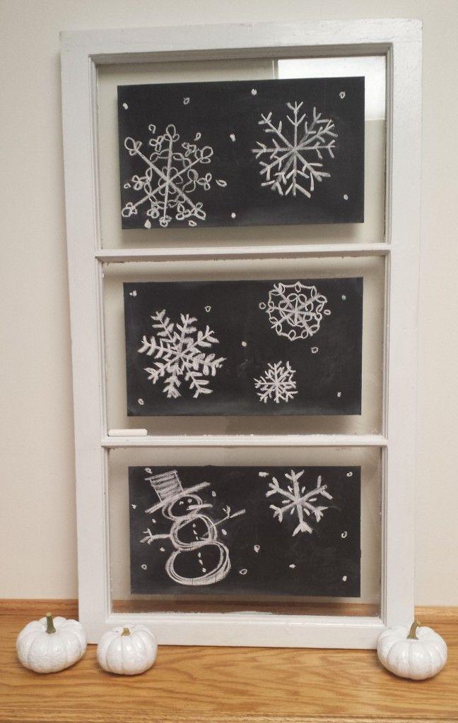 snowflake chalkboard window art #chalkboardart