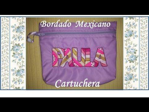 ♥ Como bordar letras en diferentes formas ♥ Cartuchera ♥ Bordado Mexican...