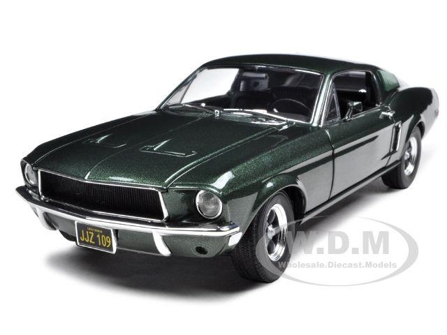 1968 ford mustang gt fastback bullitt steve mcqueen highland green 1 18 diecast car model by. Black Bedroom Furniture Sets. Home Design Ideas