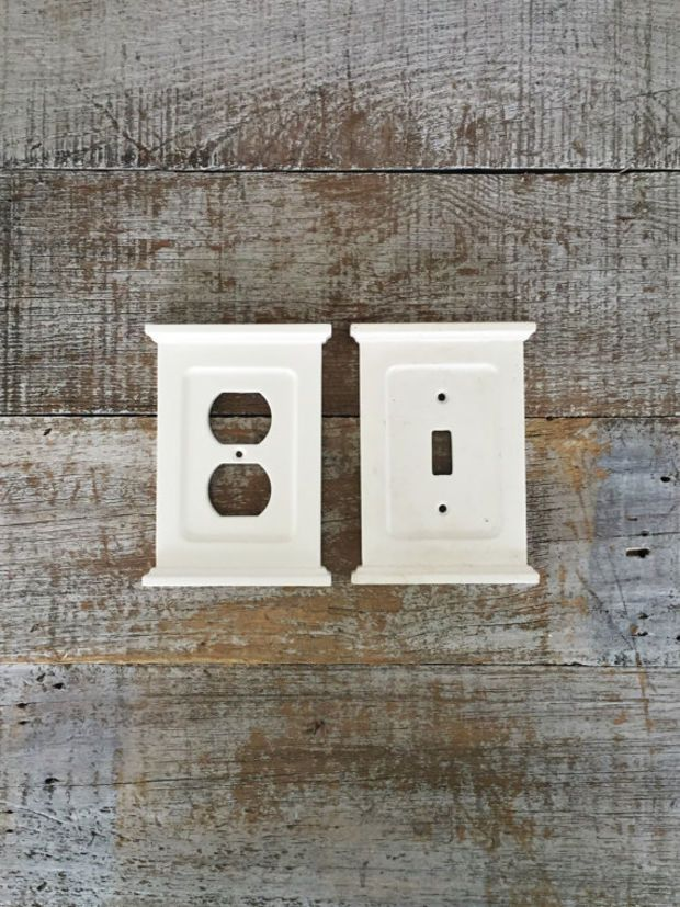 Light Switch Cover and Outlet Cover White Light Switch Plate and Outlet Cover Matching Set Cottage Chic Home Improvement Farmhouse Chic -- Wanelo