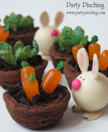 cute Easter treats, mini garden brownies, bunny truffles