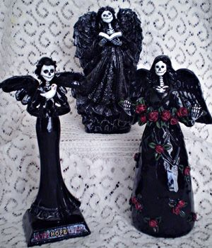 """How to turn dollar store angel decorations into """"dark"""" angels. Excellent idea!"""