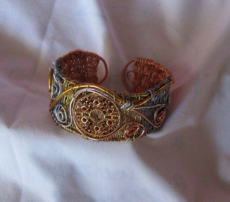 Mixed metal wirework cuff bracelet, handmade with rhinestones by ZydecoBeads on Etsy