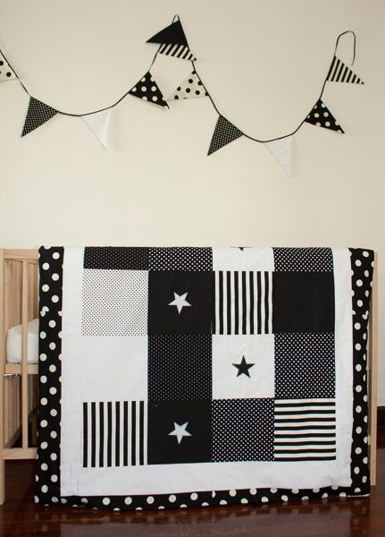 Black and white stars baby quilt cover and bunting by Erie's Boutique
