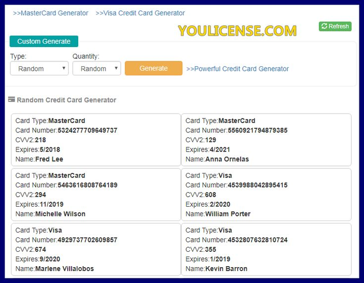 Credit card generator with cvv in 2020 credit card visa
