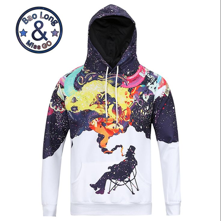 Cool Stylish Hoodies Long Sleeve 3D Print Smoking Hoody Sweatershirts with Hat Pullover Sportwear