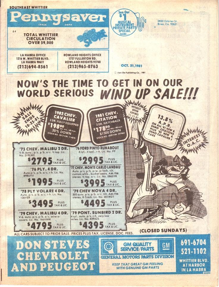 PennySaver cover circa 1981.