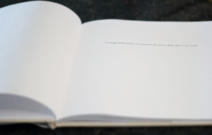"""""""Lovingly dedicated to our parents who prove daily that it can work.""""   wedding photobook guestbook dedication"""