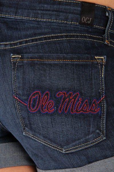 OCJ Apparel | Premium Collegiate Denim | Ole Miss Rebels Cuffed Shorts Ole Miss in Deep Indigo | www.ocjapparel.com