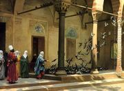 Harem Women Feeding Pigeons in a Courtyard  by Jean-Léon Gérôme